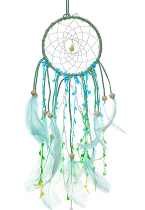 www.snowfall-beads.com - Pendant dreamcatcher with feathers and LED lights 47x11cm