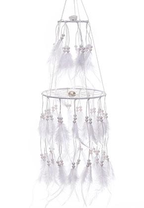 www.snowfall-fashion.nl - Hanger dromenvanger met veren en LED lampjes 80x15cm