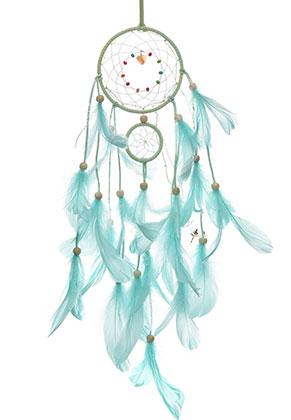 www.snowfall-beads.es - Colgante atrapasueños con plumas y lámparas LED 63x11cm