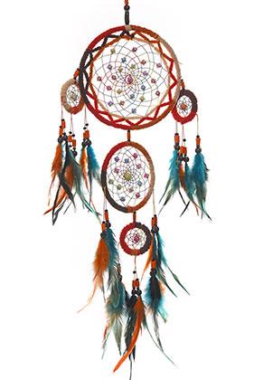 www.snowfall-beads.es - Colgante atrapasueños con plumas 76x17cm