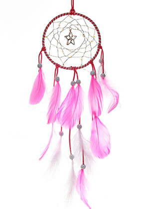 www.snowfall-beads.com - Pendant dreamcatcher with feathers and LED lights 57x11cm