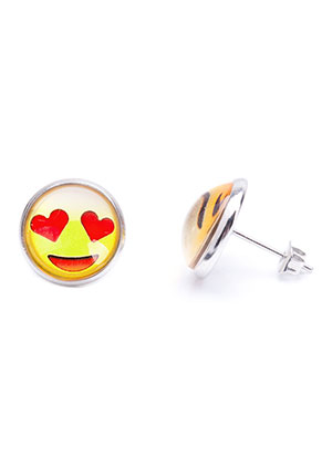 www.snowfall-fashion.nl - Metalen oorstekers met emoji 17x14mm