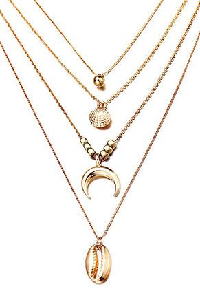 www.snowfall-beads.be - Laagjes ketting met hangers schelpen 63-68cm