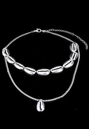 www.snowfall-beads.be - Laagjes ketting choker met schelpen 42-51cm