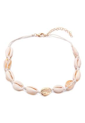 www.snowfall-beads.nl - Halsketting met schelpen 40-45cm