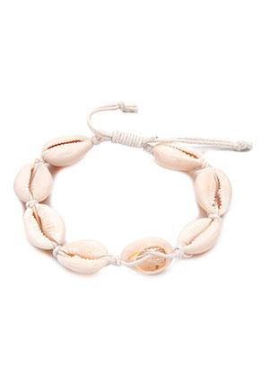www.snowfall-fashion.be - Armband met waxkoord en schelpen 19-25cm