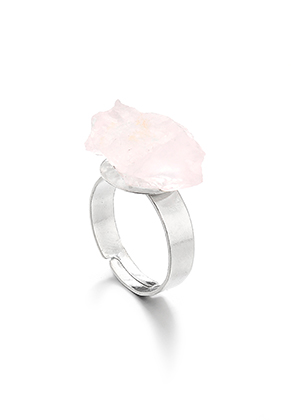www.snowfall-beads.com - Ring with natural stone Rose Quartz >= Ø 18,5mm