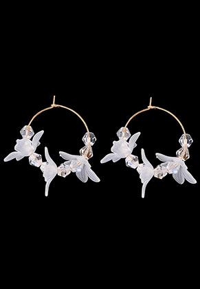 www.snowfall-beads.com - Metal earrings with flower 4,5x4cm