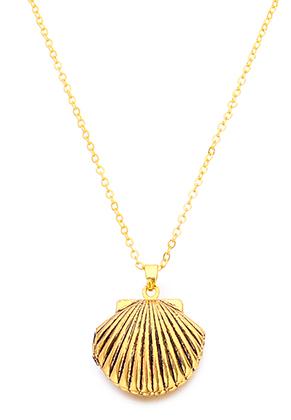 www.snowfall-beads.be - Halsketting met hanger medaillon schelp 45-50cm