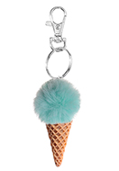 www.snowfall-fashion.co.uk - Key fob with fluff ball ice cream 12,5x3cm - J08296