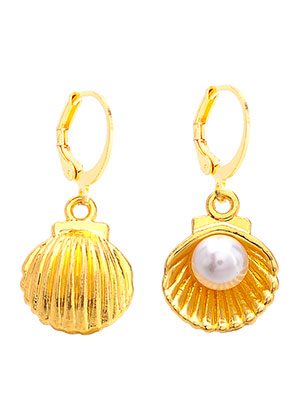 www.snowfall-beads.com - Earrings with shell 29x13mm