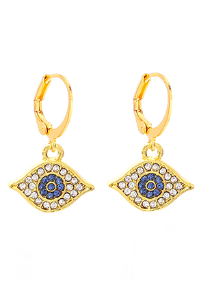 www.snowfall-beads.com - Hoop earrings with eye and strass 27x16mm