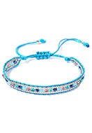 www.snowfall-beads.com - Ibiza Style bracelet with glass beads 15-28cm - J08504