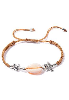 www.snowfall-beads.com - Macrame bracelet with shell 15-27cm