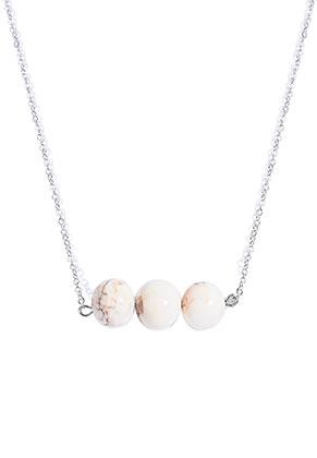 www.snowfall-beads.nl - Halsketting met natuursteen kralen Howlite 45-50cm