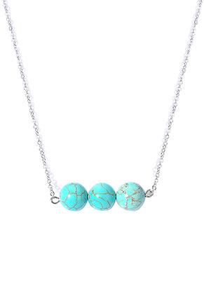 www.snowfall-beads.fr - Collier avec perles pierre naturelle Turquoise Howlite 45-50cm