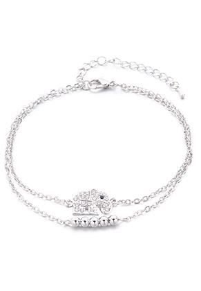www.snowfall-beads.fr - Bracelet/bracelet de cheville avec éléphant 23-29cm