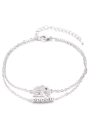 www.snowfall-beads.nl - Armband/enkelbandje met olifant 23-29cm