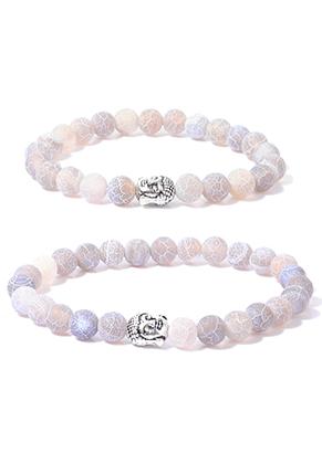 www.snowfall-beads.nl - Set van natuursteen distance armbanden Agate crackle met Boeddha 19+21cm