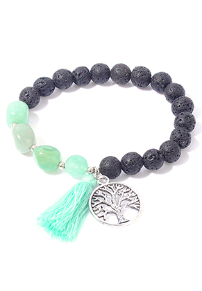 www.snowfall-beads.com - Natural stone bracelet Green Aventurine/Lava rock with tree, stretchable 19cm