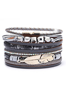 www.snowfall-fashion.com - Imitation leather bracelet with feather and beads 19cm - J08679