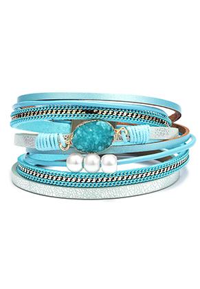 www.snowfall-beads.es - Pulsera enrollada de cuero artificial con piedra natural Crystal 18,5cm