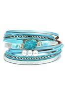 www.snowfall-beads.es - Pulsera enrollada de cuero artificial con piedra natural Crystal 18,5cm - J08686