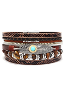 www.snowfall-fashion.com - Imitation leather bracelet with feather and beads 19cm - J08687