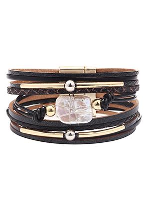 www.snowfall-beads.fr - Bracelet en cuir artificiel avec perle d'eau douce et perles 18,5cm