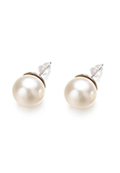 www.snowfall-beads.com - Metal earrings with synthetic pearl 24x12mm - J08733
