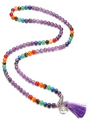 www.snowfall-beads.es - Collar Rainbow Chakra Mala de piedras natural con borla (108 abalorios) 90cm