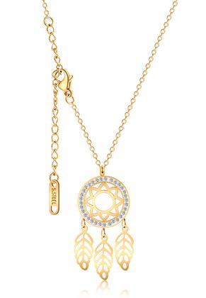www.snowfall-beads.be - Roestvrijstalen halsketting dromenvanger met strass 44-49cm