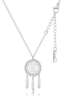 www.snowfall-beads.com - Stainless steel necklace dreamcatcher with strass 44-49cm - J08776
