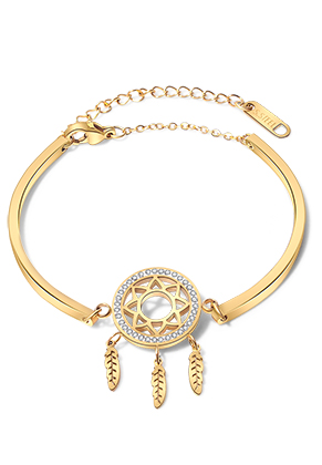 www.snowfall-beads.com - Stainless steel bracelet dreamcatcher with strass 14-19cm