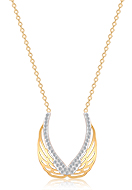 www.snowfall-beads.com - Stainless steel necklace wings with strass 44-49cm - J08791