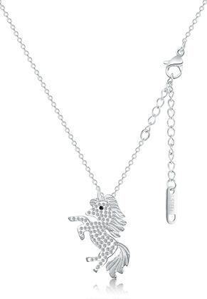 www.snowfall-beads.be - Roestvrijstalen halsketting eenhoorn met strass 43-50cm