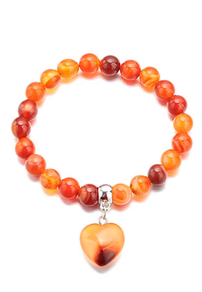 www.snowfall-mode.be - Bracelet en pierre naturelle Red Agate avec coeur 18cm