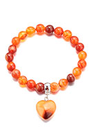 www.snowfall-fashion.co.uk - Natural stone bracelet Red Agate with heart 18cm - J08806