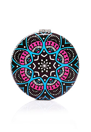 www.snowfall-beads.co.uk - Synthetic pocket-mirror round mandala print 7x1,5cm