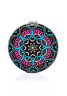 www.snowfall-beads.co.uk - Synthetic pocket-mirror round mandala print 7x1,5cm - J08847