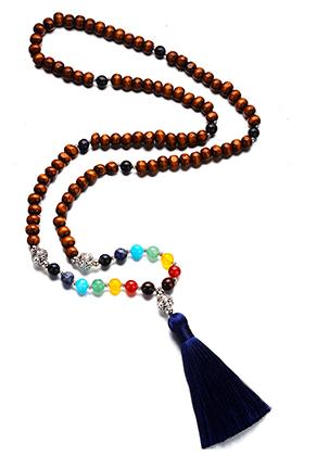 www.snowfall-fashion.fr - Collier Rainbow Chakra Mala en pierre naturelle avec pompon (108 perles) 84cm