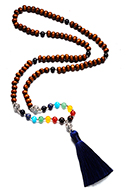 www.snowfall-fashion.com - Rainbow Chakra Mala necklace with natural stone and tassel (108 beads) 84cm - J08901