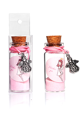 www.snowfall-fashion.co.uk - Glass wish bottle with bracelet angel 54x22mm