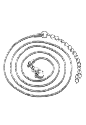 www.snowfall-beads.co.uk - Stainless steel necklace 45-50cm, 1,2mm thick