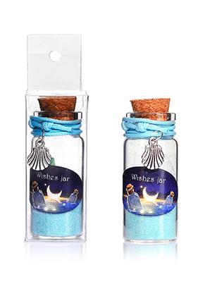 www.snowfall-beads.fr - Bouteille de voeux (Wish bottle) en verre avec bracelet coquillage 54x22mm