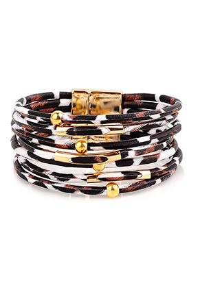 www.snowfall-beads.co.uk - Imitation leather bracelet with beads 20cm