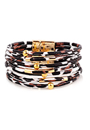 www.snowfall-beads.co.uk - Imitation leather bracelet with beads 20cm - J09013