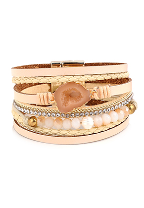 www.snowfall-beads.fr - Bracelet en cuir artificiel avec pierre naturel Crystal 19,5cm