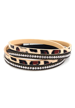 www.snowfall-beads.co.uk - Imitation leather wrap bracelet with leopard print