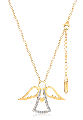 www.snowfall-beads.com - Stainless steel necklace angel with strass 44-49cm